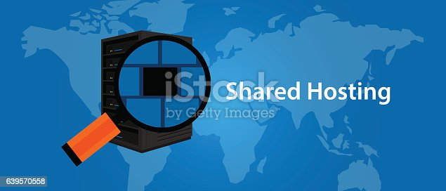 Shared hosting web-hosting services infrasctructure technology vector