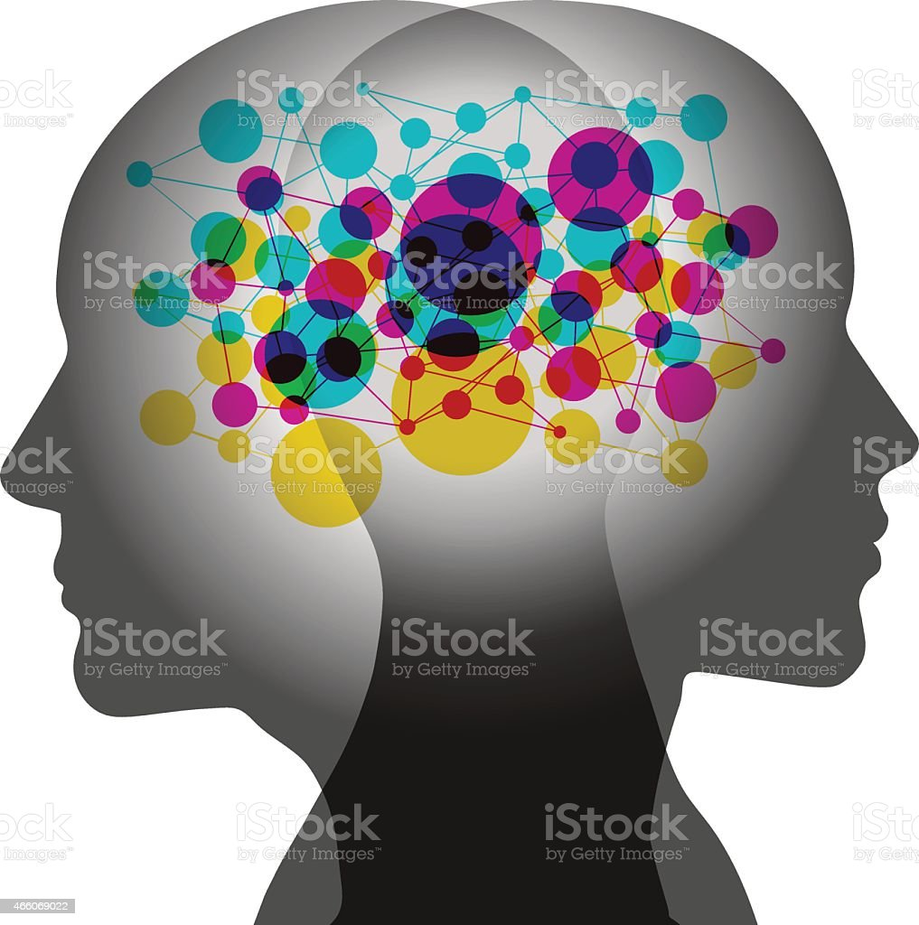 Shared Networked Minds vector art illustration