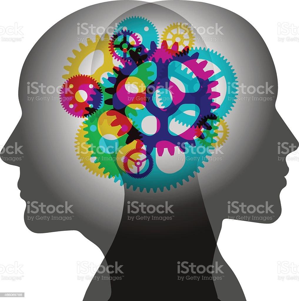 Shared Thinking vector art illustration