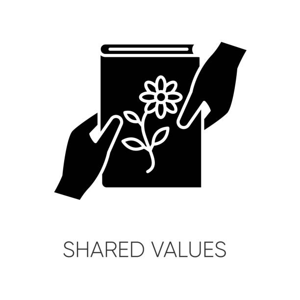 Shared values black glyph icon. Common interests, friendly exchange silhouette symbol on white space. Literature, scrapbooking hobby. Friends sharing book. Vector isolated illustration Shared values black glyph icon. Common interests, friendly exchange silhouette symbol on white space. Literature, scrapbooking hobby. Friends sharing book. Vector isolated illustration book silhouettes stock illustrations