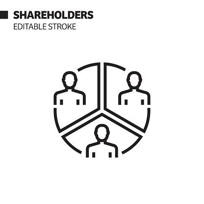 Shareholders Line Icon, Outline Vector Symbol Illustration. Pixel Perfect, Editable Stroke.