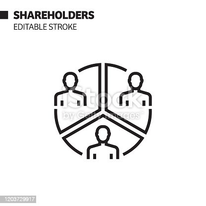 Shareholders Line Icon, Outline Vector Symbol Illustration. Pixel Perfect, Editable Stroke.