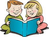 this is an illustration of 2 children a boy and a girl sharing a story together.
