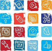 Sharing and social media grunge block icon set
