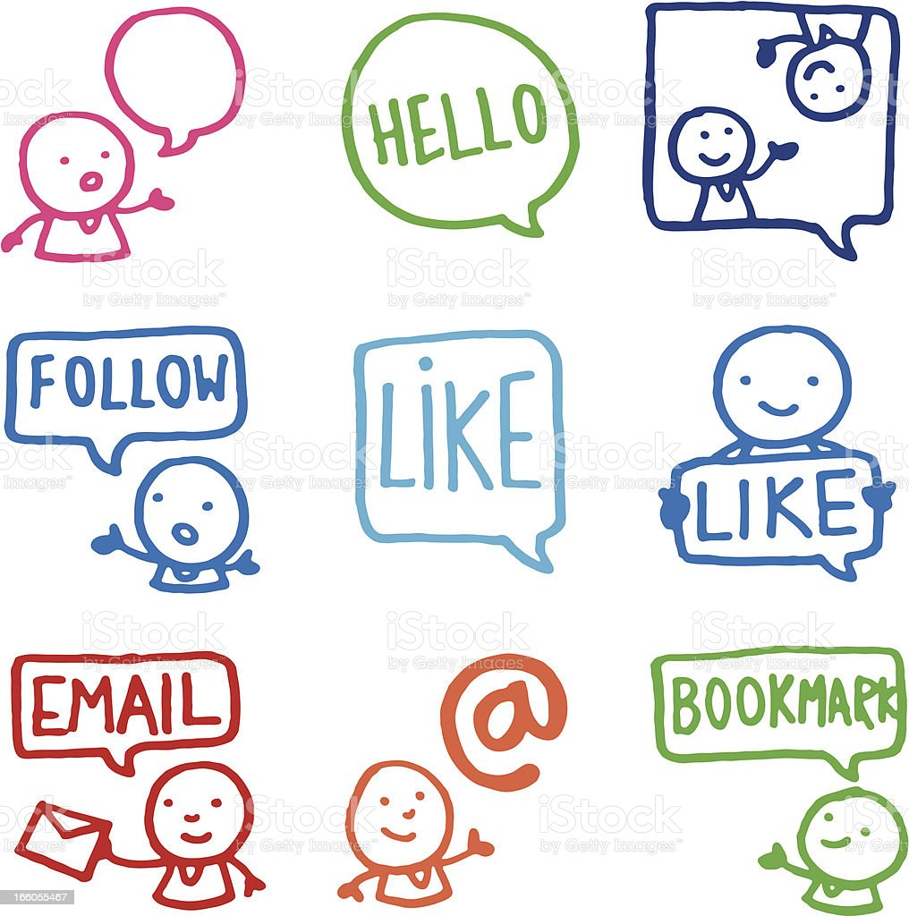 Sharing and social networking doodle icon set vector art illustration