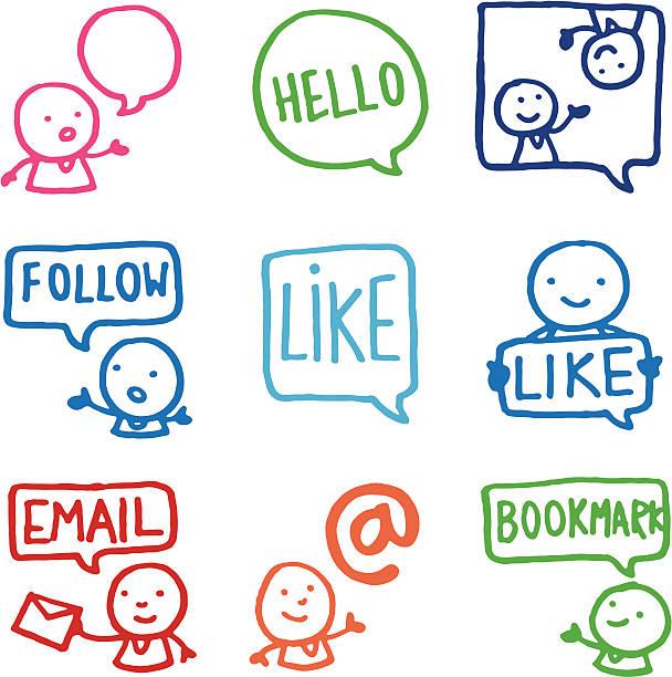 Partage et réseaux sociaux doodle icône set - Illustration vectorielle