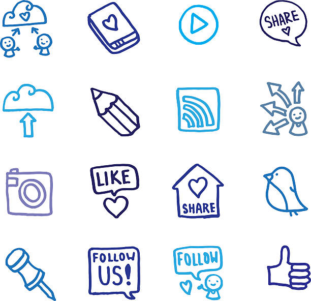 Teilen und social-networking-doodle-icon-set – Vektorgrafik