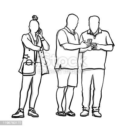 A woman talking on the phone whilst two men exchange contact information.