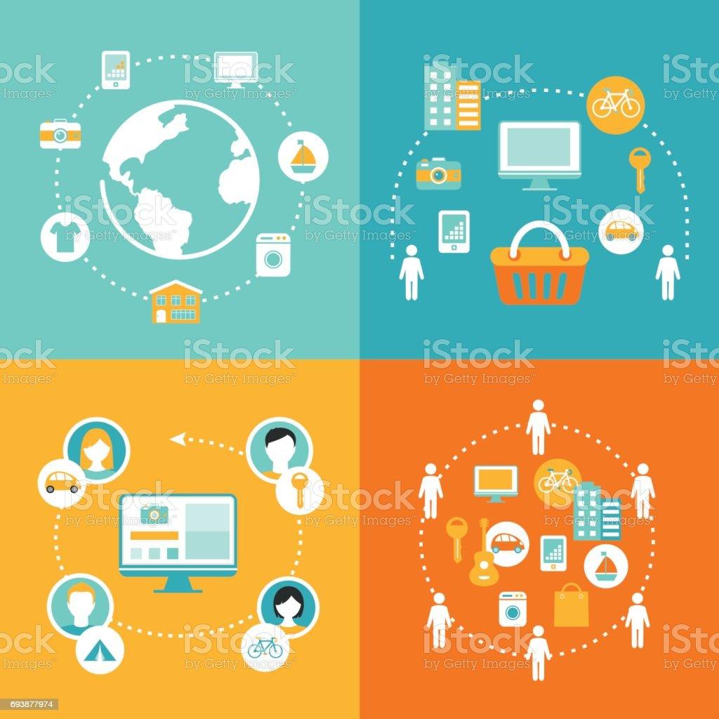Sharing Economy and Collaborative Consumption Concept Illustrations Set vector art illustration