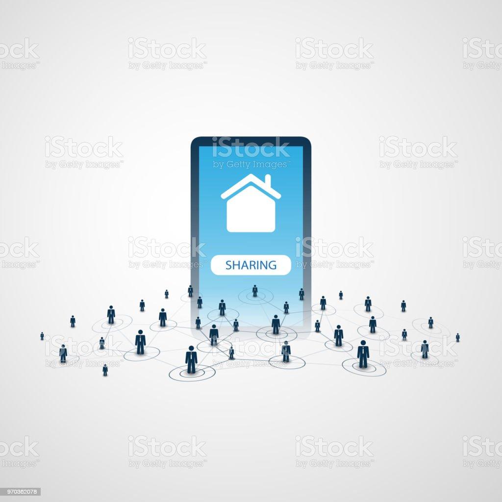 Sharing Economy - Home Vermietung, Peer-to-Peer-Unterkunft-Design-Konzept – Vektorgrafik