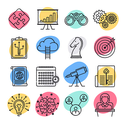 Sharing Economy Participation Doodle Style Vector Icon Set