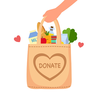 Sharing food to people. Food donation concept. Man hand holding bag full of food in flat design vector illustration on white background. Time for charity.