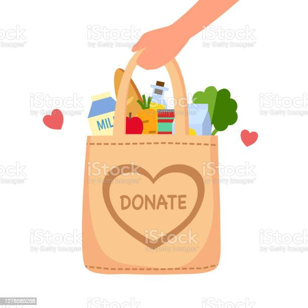 Sharing Food To People Food Donation Concept Man Hand Holding Bag Full Of Food In Flat Design Vector Illustration On White Background Time For Charity Stock Illustration - Download Image Now