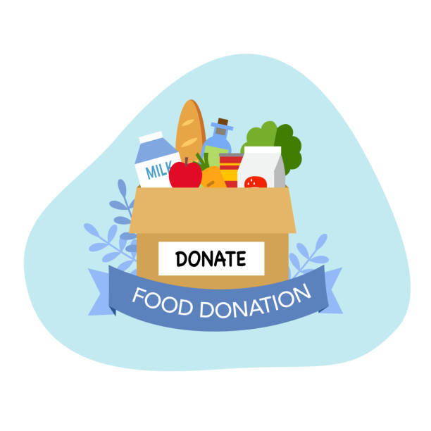 Sharing food to people. Foos donation. Boxes full of food in flat design vector illustration on white background. Time for charity. Sharing food to people. Foos donation. Boxes full of food in flat design vector illustration on white background. Time for charity. food bank stock illustrations