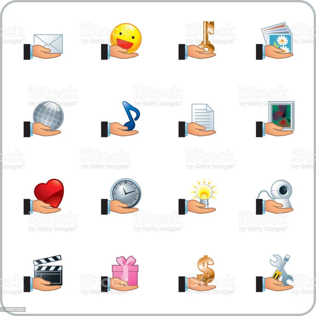 Sharing, giving icon set royalty-free stock vector art