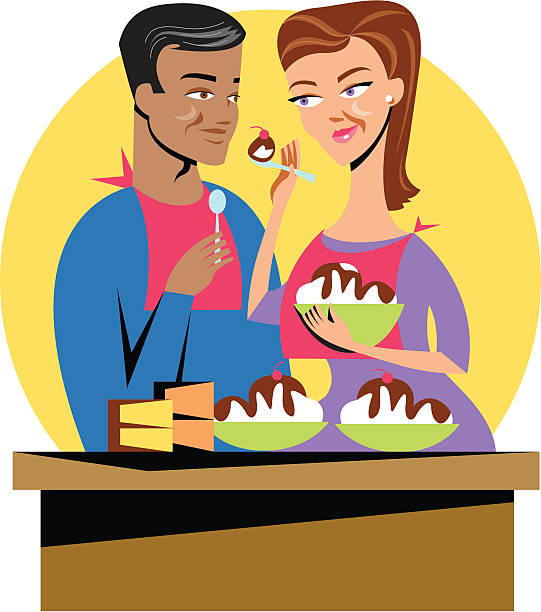 bildbanksillustrationer, clip art samt tecknat material och ikoner med sharing ice cream - middle aged man dating