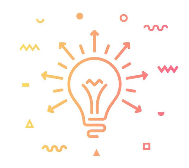 udostępnianie pomysłów projekt ikony stylu linii - natchnienie stock illustrations