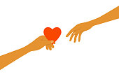 istock Sharing love vector illustration with human hand holds out red heart shape to another person 1321505386