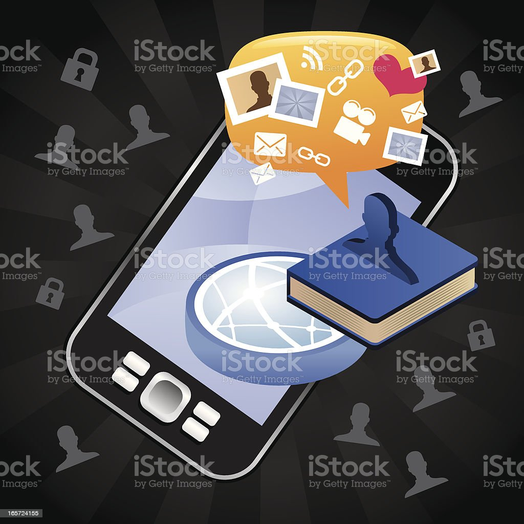 Sharing on the book by phone royalty-free stock vector art