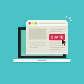 Sharing website page via share button on browser window in laptop computer screen vector illustration flat cartoon, concept of social media advertising, online marketing internet technology