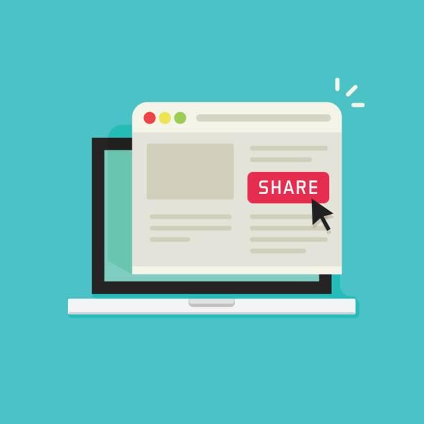 Sharing website page via share button on browser window in laptop computer screen vector illustration flat cartoon, concept of social media advertising, online marketing internet technology vector art illustration