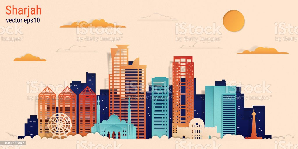 Sharjah city colorful paper cut style, vector stock illustration