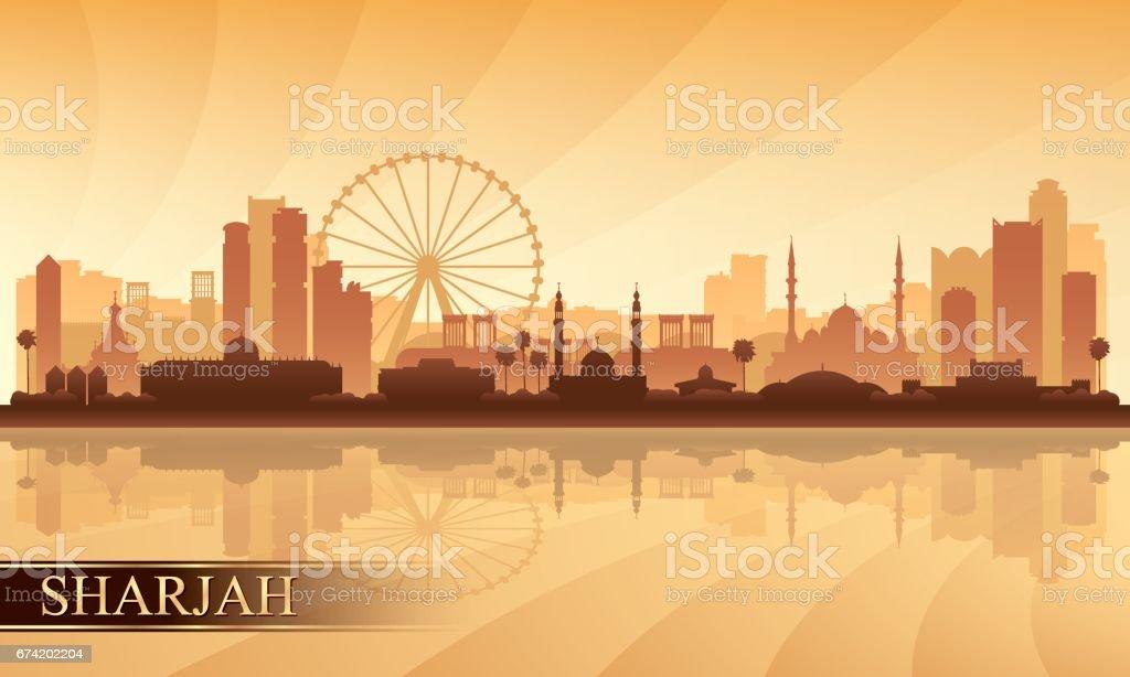 Sharjah city skyline silhouette background