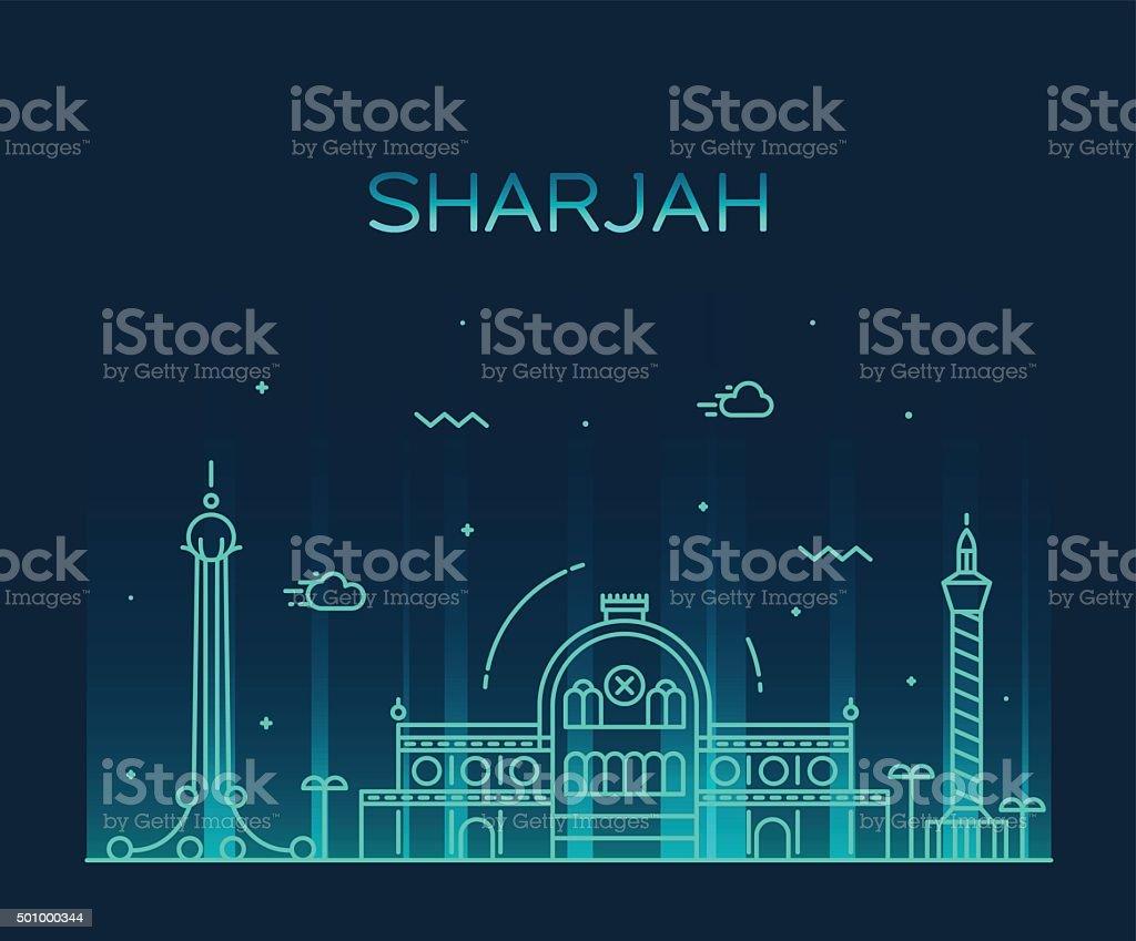 Sharjah skyline vector illustration linear style