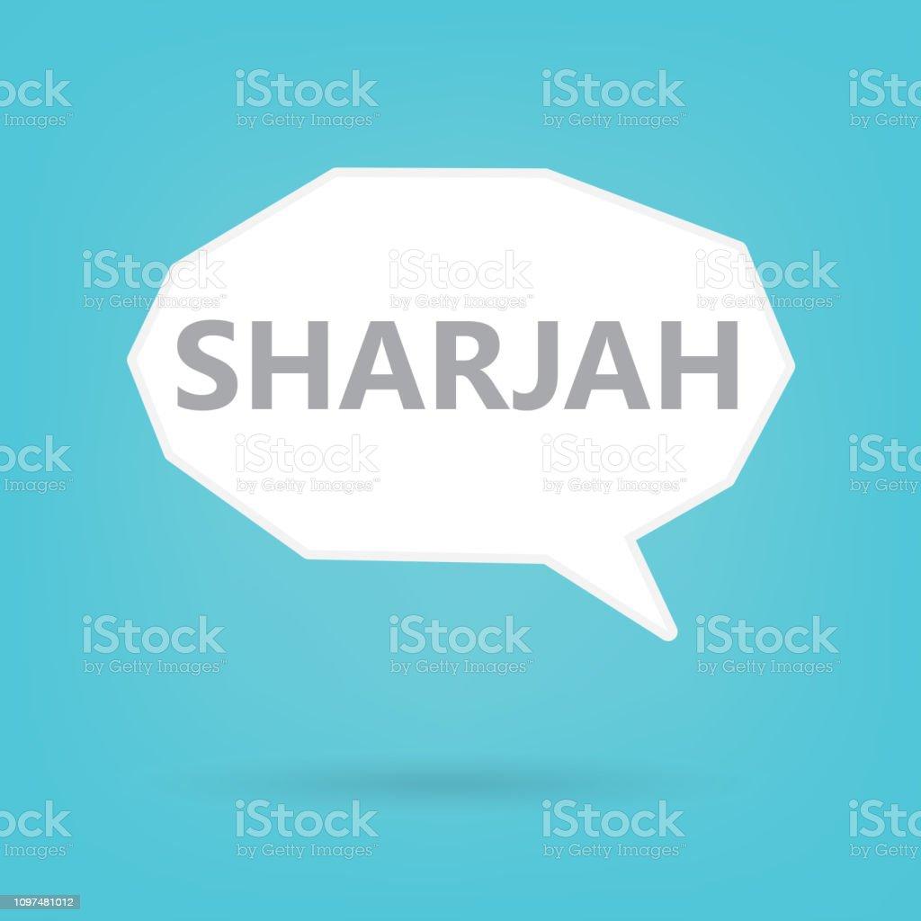 Sharjah word on a speech bubble