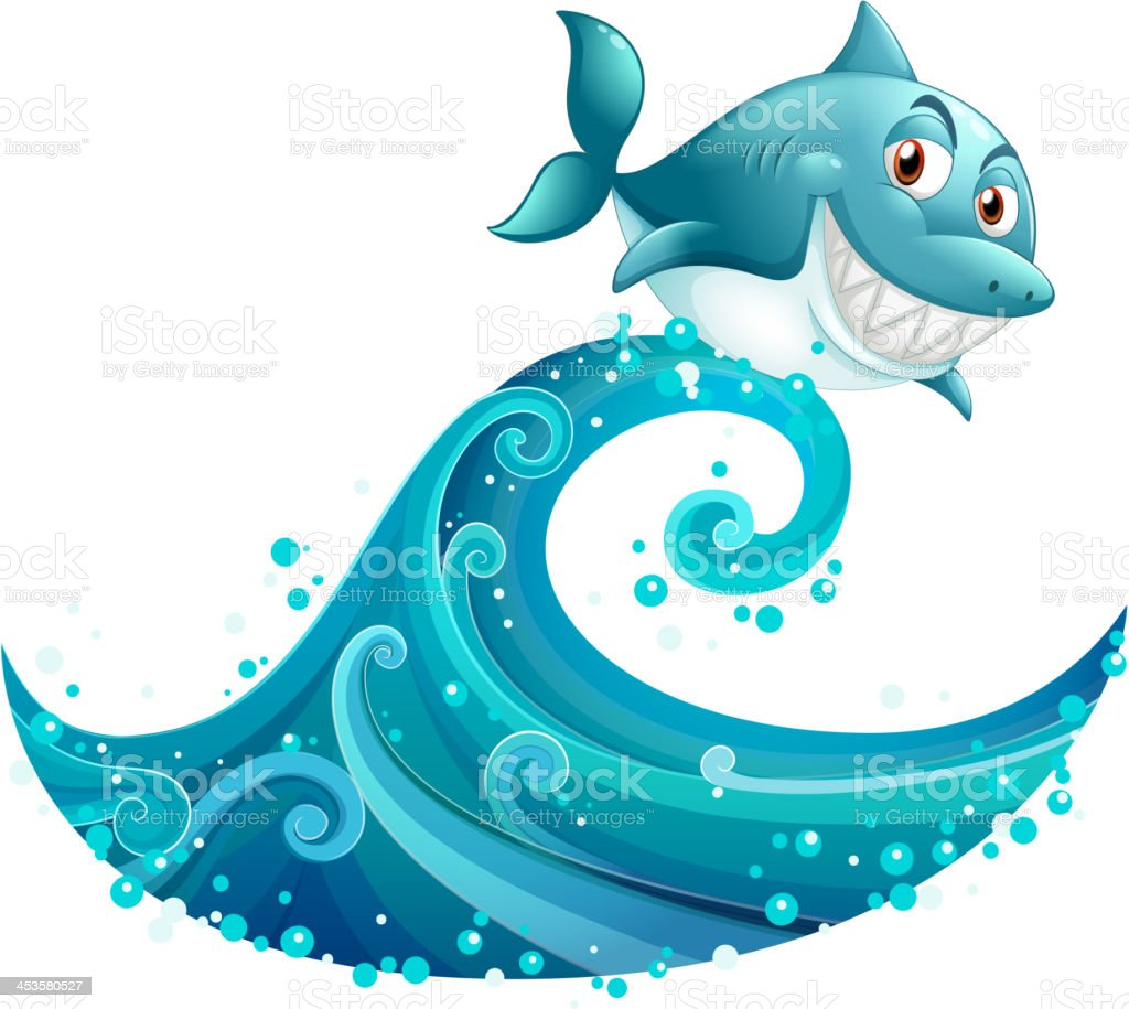 Shark above the big wave royalty-free shark above the big wave stock vector art & more images of animal