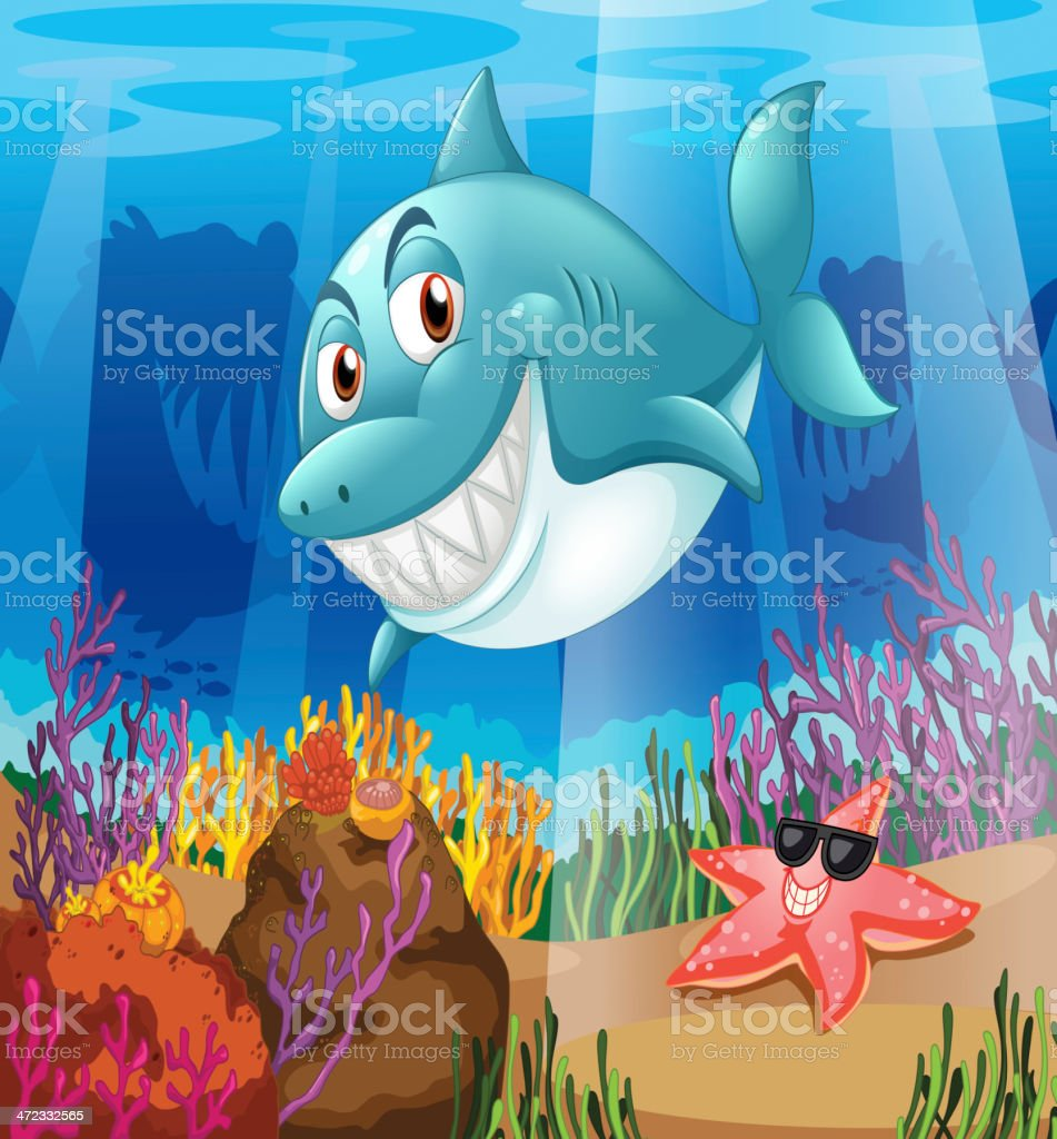 Shark and a starfish under the water royalty-free shark and a starfish under the water stock vector art & more images of animal