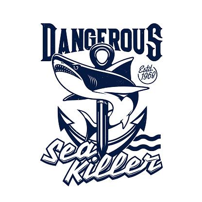 Shark and sea ship anchor t-shirt print mockup