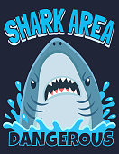 Shark area poster. Attack sharks, ocean diving and sea surf warning. Extreme surfing beach shirt typography shark mascot print art or marine fish horror banner cartoon vector illustration