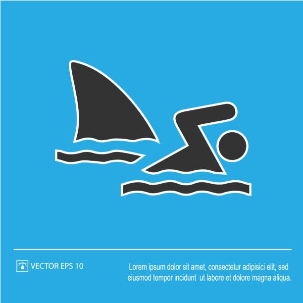 illustrazioni stock, clip art, cartoni animati e icone di tendenza di shark attack vector icon eps 10. fish fin and swimmer symbol. simple isolated illustration. - frogman