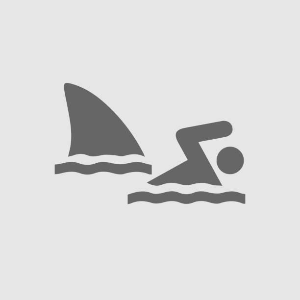 illustrazioni stock, clip art, cartoni animati e icone di tendenza di shark attack - frogman