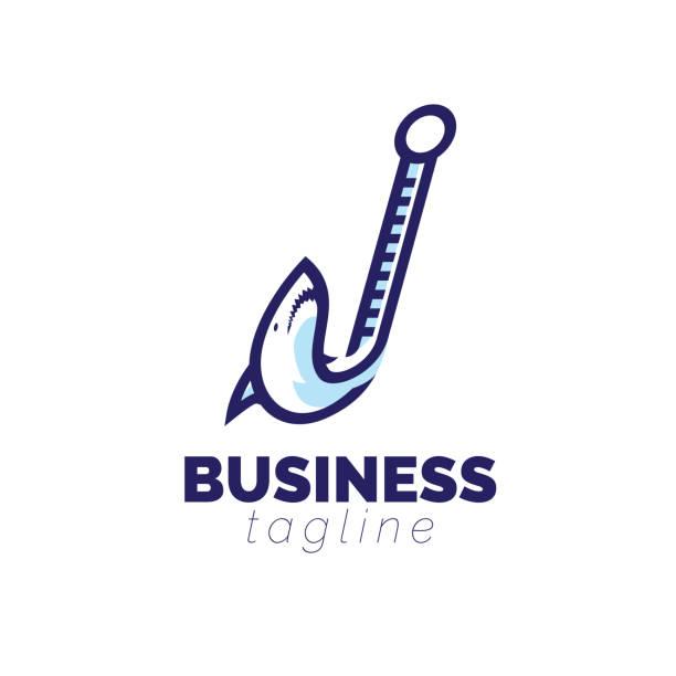 shark bait logo - haifischköder stock-grafiken, -clipart, -cartoons und -symbole