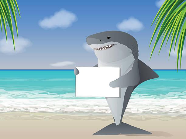 Shark Beach vector art illustration
