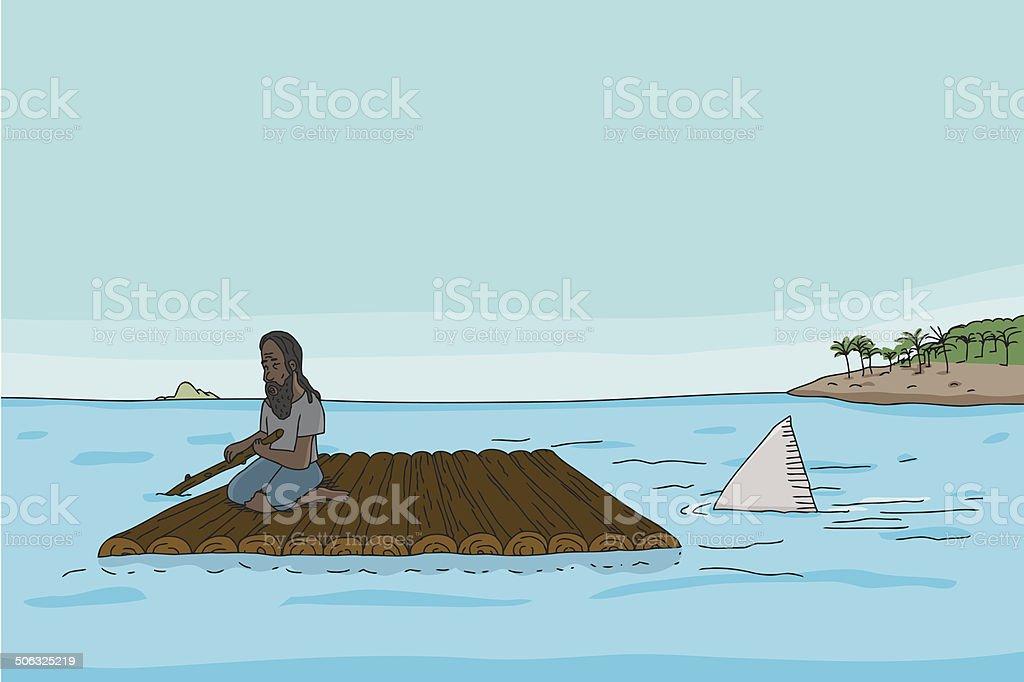 Shark Behind Man on Raft vector art illustration