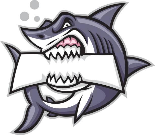 shark bite a blank sign vector of shark bite a blank sign great white shark stock illustrations