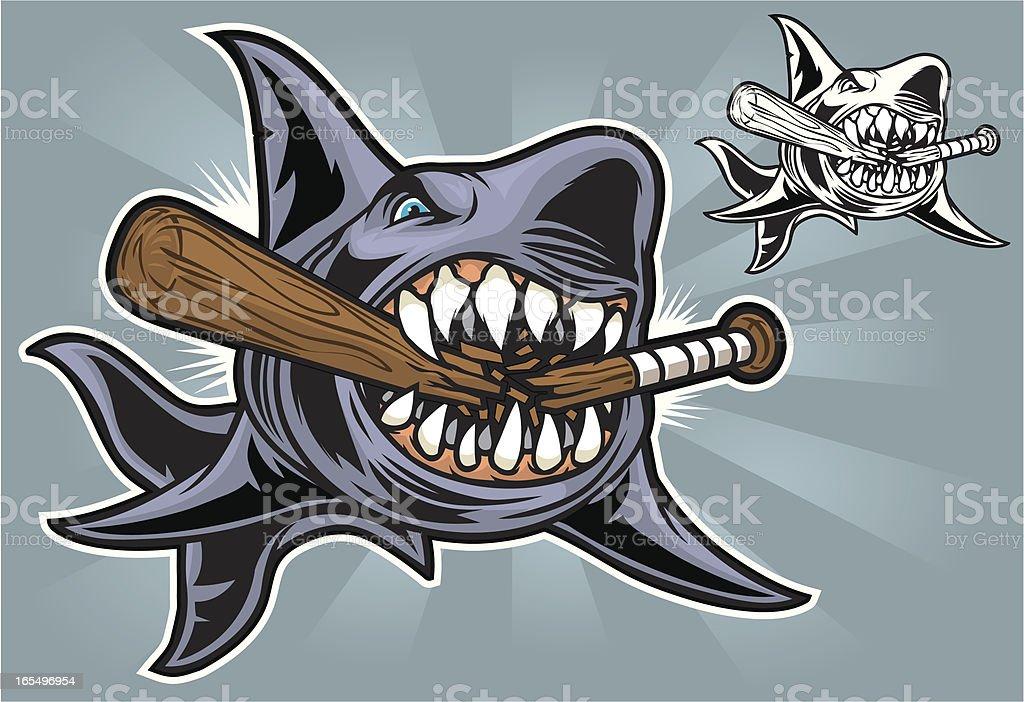 Shark Bite Baseball vector art illustration