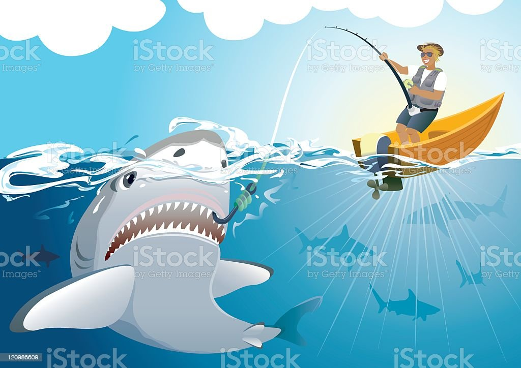 Shark catching royalty-free stock vector art