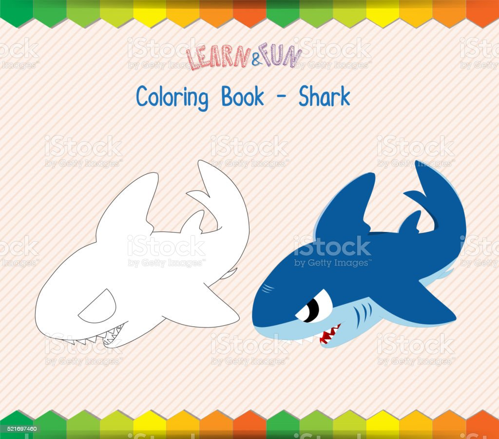 Shark Coloring Book Educational Game Stock Vector Art More Images