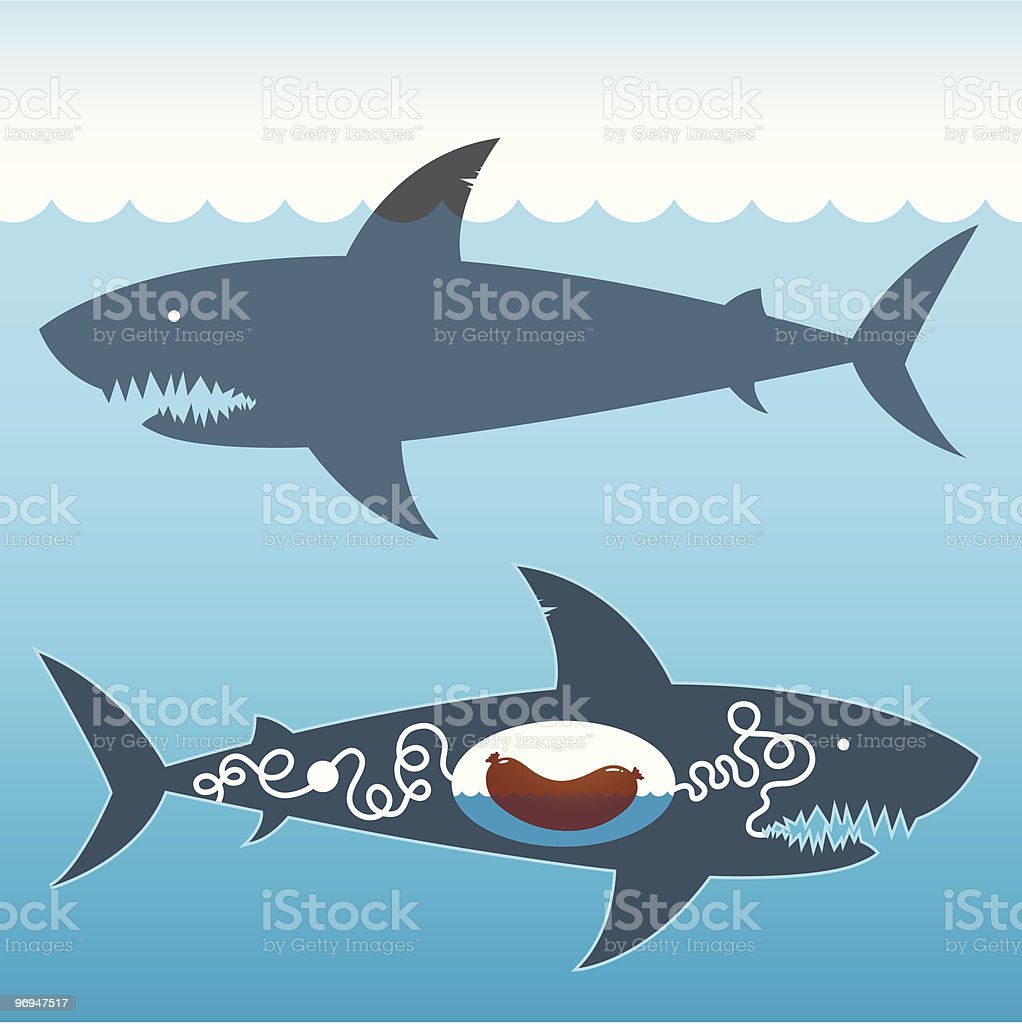 shark (ate sausage) - episode 5 royalty-free shark episode 5 stock vector art & more images of animal digestive system