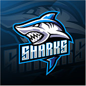 Illustration of Shark esport mascot logo design