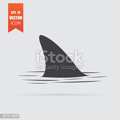 Shark fin icon in flat style isolated on grey background. For your design, logo. Vector illustration.