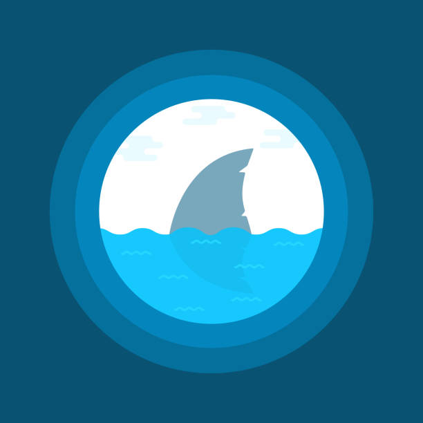 shark fin in water seen in telescope shark fin in water seen in telescope. concept of marine predator or hunter and swimmer. flat style trend modern art graphic design animal fin stock illustrations