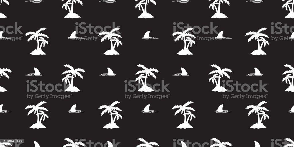 shark fin seamless pattern island Coconut tree palm vector isolated wallpaper background black vector art illustration