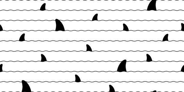 Shark fin Seamless pattern vector dolphin fish scarf isolated whale ocean sea repeat wallpaper tile background cartoon doodle illustration Shark fin Seamless pattern vector dolphin fish scarf isolated whale ocean sea repeat wallpaper tile background cartoon doodle illustration animal fin stock illustrations