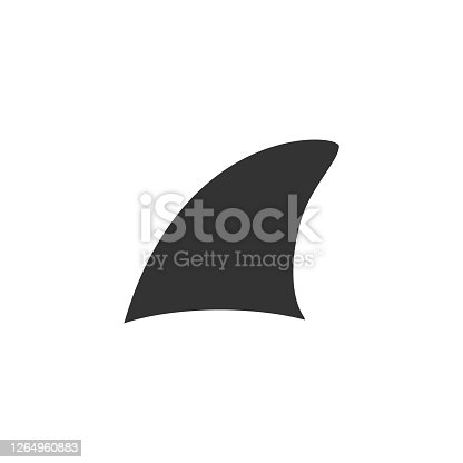 Shark fin symbol vector illustration isolated on white background. Fish fin black outline sign.