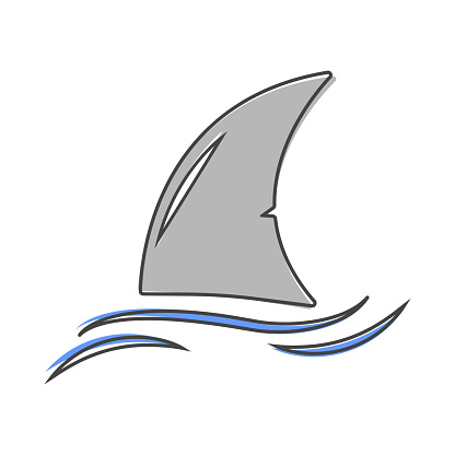 Shark fin vector icon. Fin in the water cartoon style on white isolated background. Layers grouped for easy editing illustration. For your design.